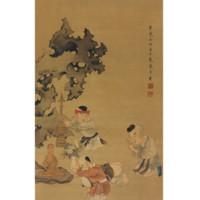 《戲嬰圖》 陳洪綬 水墨畫國畫框畫裝飾畫 咖啡實木國畫框