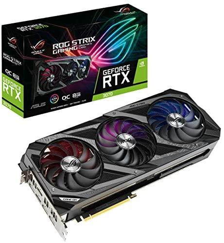 ASUS 华硕 ROG Strix NVIDIA GeForce RTX 3070 游戏显卡(PCIe 4.0,8GB GDDR6,HDMI 2.1,DisplayPort 1.4a,Axial-tech 风扇设计,2.9 插槽,超合金Power II,GPU Tweak II)