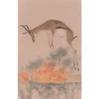 艺术品:姚丽彬签名版画《涅槃_重生4》背景墙装饰画挂画 原木色 64×90cm
