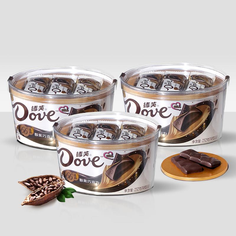 Dove 德芙 微苦醇黑巧克力3碗66%可可脂排块礼盒装休闲网红零食爆款送礼