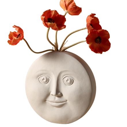 BHM 貝漢美 人臉藝術花瓶 H款 含五支虞美人