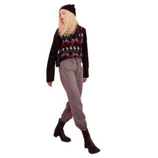 elf sack 妖精的口袋 提花羊绒针织毛衣马甲