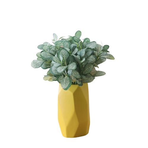 Hoatai Ceramic 華達泰陶瓷 黃色幾何花瓶 小號+3束斑馬草