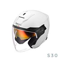MOTORAX摩雷士摩托車頭盔半盔雙鏡片夏盔安全帽四季半覆式男女S30 白色 2XL