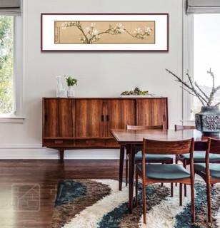 弘舍 新中式客厅装饰画 原作版画 白玉兰 典雅紅褐 宽160*高50cm