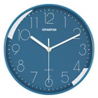 HPANPAN 掛鐘創意時尚時鐘靜音石英鐘表客廳臥室簡約鐘表現代簡約靜音鐘時尚個性 全藍色26CM