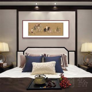 客厅国画 虢国夫人游春图 田园柚木 成品尺寸 宽198*高80cm