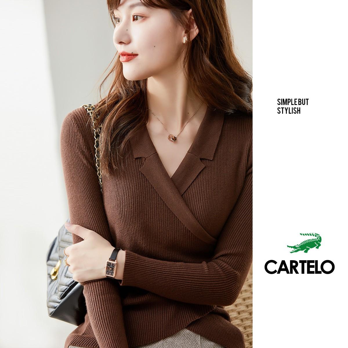 CARTELO 卡帝乐鳄鱼 C02811Q22K1 女款打底针织衫