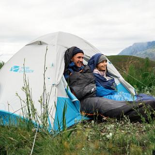 牧高笛户外帐篷 登山露营防风防雨铝合金三季双层户外露营帐篷新冷山cm 蓝色 *2件