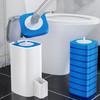 爱格马桶清洁刷具一次性马桶刷套装可抛式洗厕所刷子长柄无死角家用卫生间清洁神器(含8片刷头)