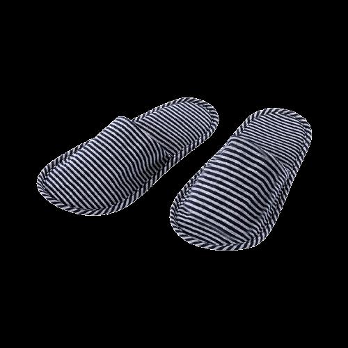 MINISO 名创优品 女士条纹折叠拖鞋 70659229494 浅灰+深蓝 均码