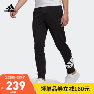 阿迪达斯官网 adidas M BL FT PT 男装训练运动裤装GK8968 黑色/白 A/M(175/80A)