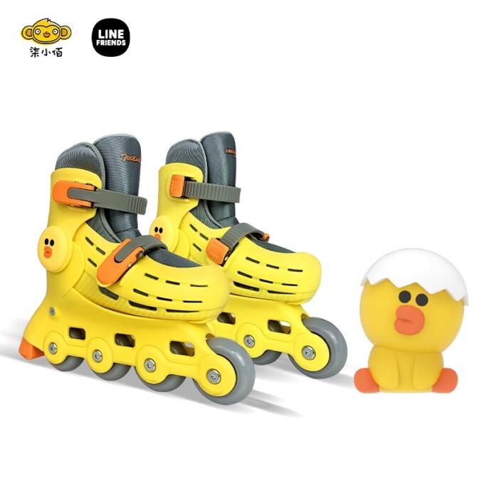 柒小佰 LINE FRIENDS 儿童轮滑鞋溜冰鞋3-7岁初学者带闪光轮男女童5挡尺码可调节旱冰鞋(24.5-31码) 莎莉