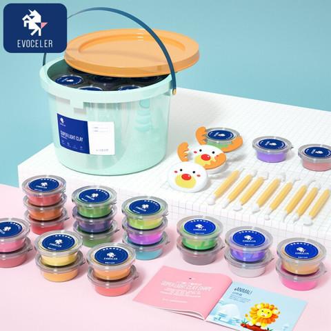 英国 EVOCELER粘土彩泥橡皮泥超轻黏儿童节手工新年生日礼物DIY玩具套装-收纳桶装24色 *3件