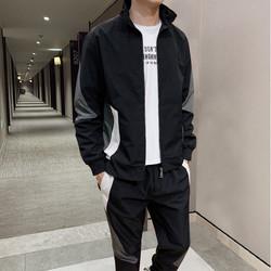 德尔惠秋冬新款男士运动套装潮流时尚百搭开衫夹克外套两件套男款