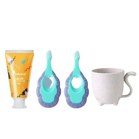 Bebetour儿童牙膏可吞咽无氟防蛀宝宝2-6-12岁以上牙刷牙膏套装