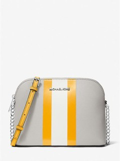 Cindy Striped Saffiano Leather Dome Crossbody Bag