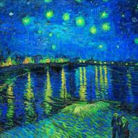 現代簡約梵高名人油畫《羅納河的星夜》裝飾畫掛畫  57*70cm