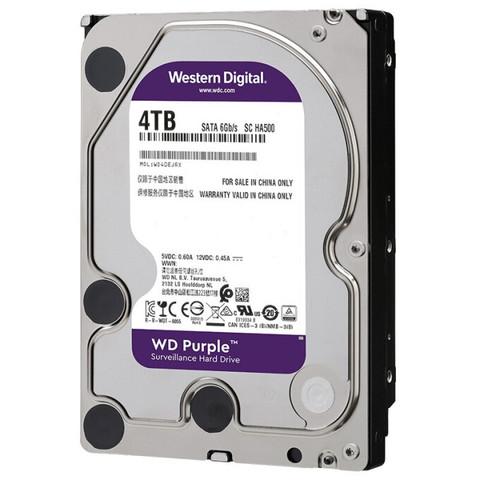 京东PLUS会员:西部数据(WD)紫盘 安防监控录像机械硬盘1t2t3t4t6t8t10t12t 3.5英寸台式 4TB WD40EJRX
