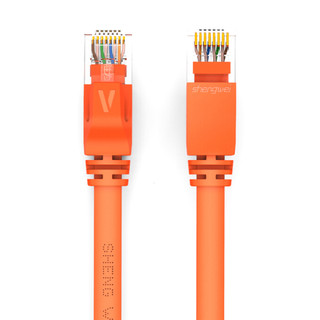 胜为(shengwei)六类网线千兆扁平双绞成品网线 UTP6类光纤/宽带/电脑/路由器网络跳线 六类千兆扁平网线橙色 1米