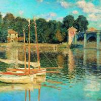 歐式莫奈名人油畫《阿爾讓特依之橋》裝飾畫掛畫  81x63cm