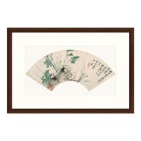 古典中式国画水墨画《临云西竹石图》恽寿平 茶褐色 77×52cm