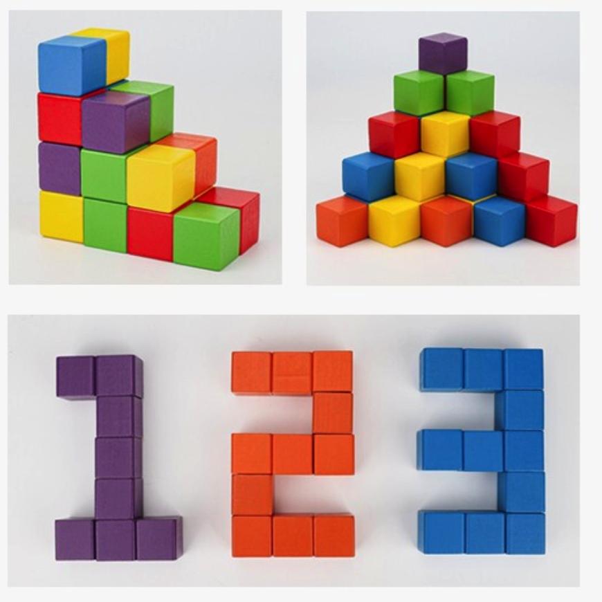乐智由我 木质正方体积木  数学立方体教具 12颗方块 大号3cm 教学图纸+收纳袋