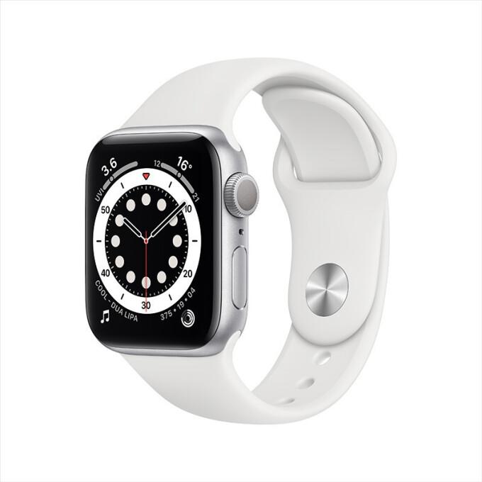 Apple 苹果 Watch Series 6 GPS款 智能手表 40mm 银色铝金属表壳 白色运动型表带 (GPS、血氧)