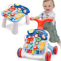 活石 嬰兒學步車多功能可變形滑行車男女孩嬰兒音樂玩具寶寶防側翻學走路助步手推車 多功能學步車+游戲桌 *2件