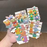 韓國可愛卡通恐龍扎頭發皮筋女童寶寶蝴蝶結發圈動物鱷魚發繩頭飾