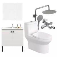 HEGII 恒洁 卫浴套装 HC0177PTOE马桶+BK6011-080浴室柜+HMF122-601EB花洒