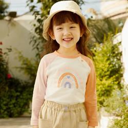 马卡乐童装2021春季新款女童全棉撞色图案休闲长袖圆领T恤