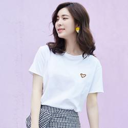 拉夏贝尔旗下女T恤夏新款纯棉圆领刺绣爱心简约少女宽松上衣