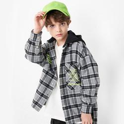 巴拉巴拉儿童衬衫男童长袖2021新款春装中大童童装连帽格纹潮 *2件