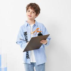 巴拉巴拉儿童衬衫男童衬衣长袖2021新款春装大童童装潮酷字母印花 *2件