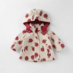 女童春装风衣外套个性印花连帽设计活泼可爱甄选面料亲肤舒适
