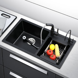 德国陶尔曼石英石水槽 套餐厨房洗菜盆花岗岩大双槽洗碗池水池