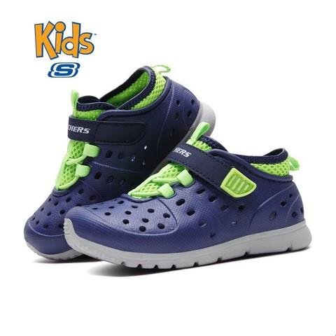 Skechers斯凯奇男童鞋小童透气洞洞鞋魔术贴宝宝休闲凉鞋92810N