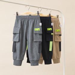 巴拉巴拉男童裤子宝宝长裤儿童春装2021新款童装工装裤撞色潮 *2件