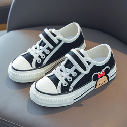 迪士尼春季新款男童帆布鞋女童简约休闲舒适鞋子