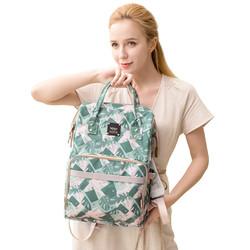 抱抱熊妈咪包多功能大容量双肩包手提外出背包时尚妈妈包防水保温包H03清野绿