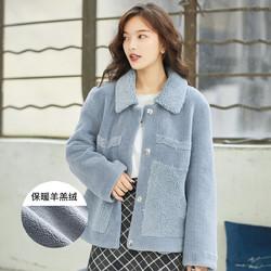拉夏贝尔旗下 冬季新款宽松时尚可爱羊羔绒女式外套