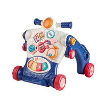 babycare可調速嬰兒學步車 多功能防側翻兒童車寶寶平衡車學步手推車NTG004-A 格里藍 *3件