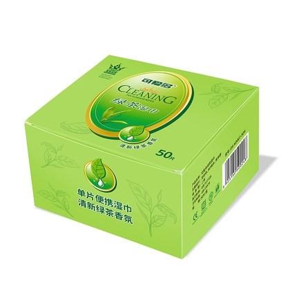 Cutebaby 可爱多 绿茶湿纸巾 单片独立包装 50片