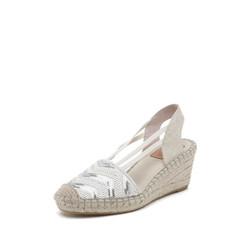 思加图春季新款厚底坡跟鞋子拼色简约绑带凉鞋女9W601AH9 银色 38 *3件