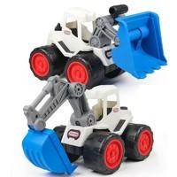 邦娃良品 仿真惯性汽车 大号白色推土机+大号白色挖掘机