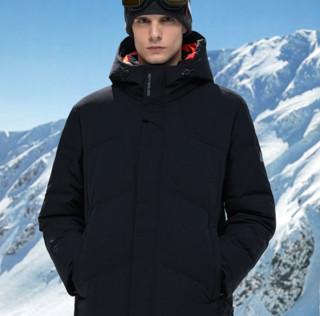 SEPTWOLVES 七匹狼 男士中长款羽绒服 1H1A80108678 黑色 XL