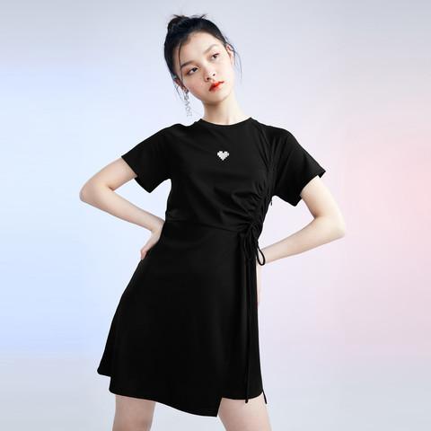 限尺码:PEACEBIRD 太平鸟 AWFAA238789 黑色修身T恤裙