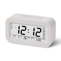 智能鬧鐘 充電語音報時鐘三組鬧鈴智能聰明鐘創意靜音LED電子鬧鐘禮品 白色8032充電款 中文報時+3組鬧鐘