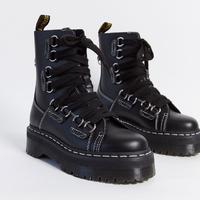 Dr Martens platform boots in black leather
